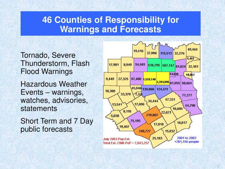 46 counties of responsibility for warnings and forecasts