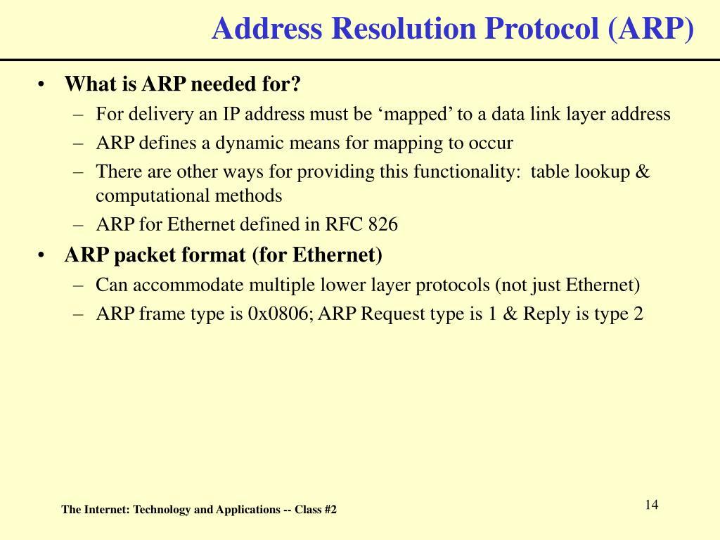 Address Resolution Protocol (ARP)