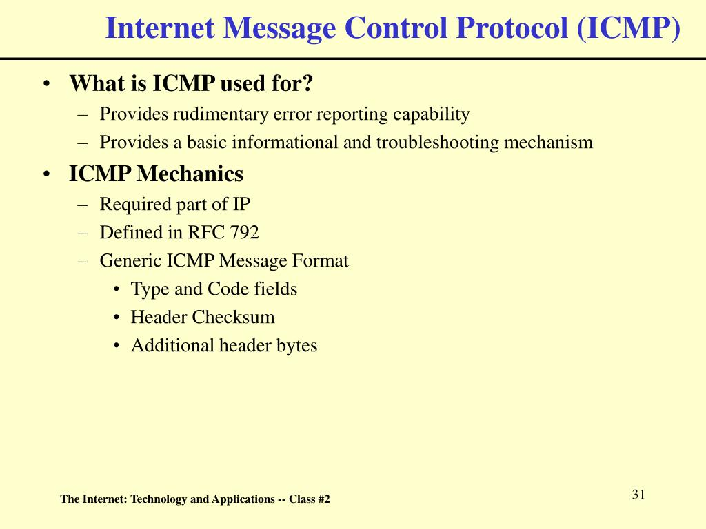 Internet Message Control Protocol (ICMP)