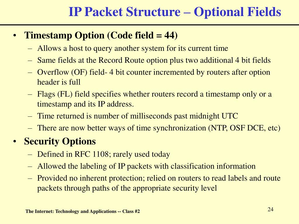 IP Packet Structure – Optional Fields