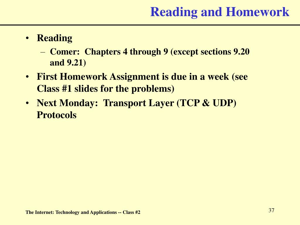 Reading and Homework