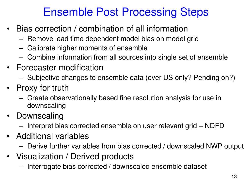 Ensemble Post Processing Steps