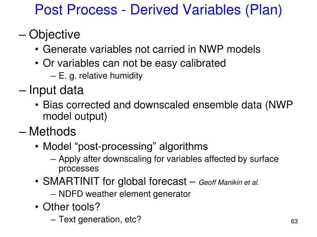Post Process - Derived Variables (Plan)