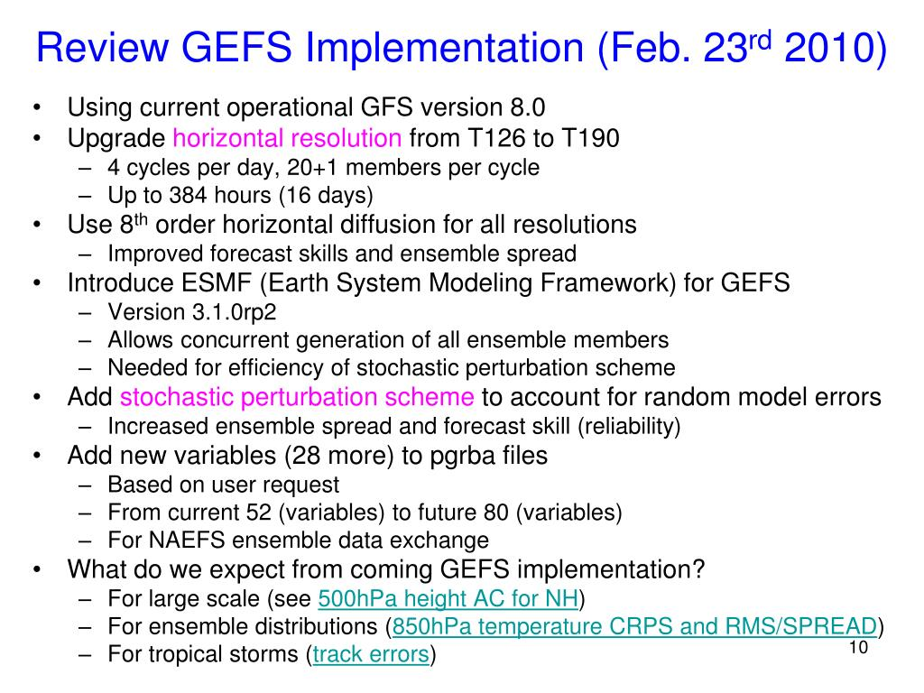 Review GEFS Implementation (Feb. 23