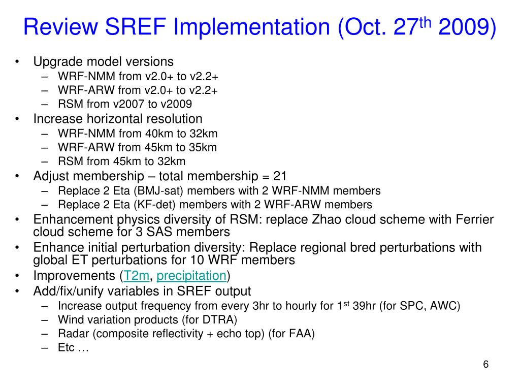 Review SREF Implementation (Oct. 27