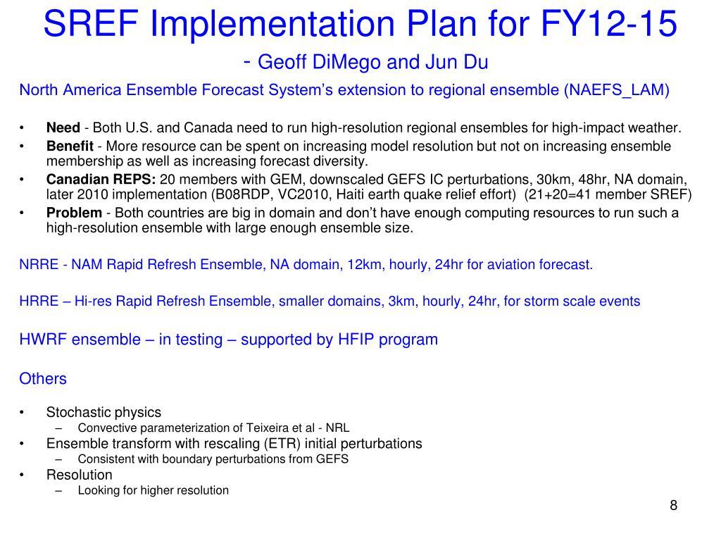SREF Implementation Plan for FY12-15