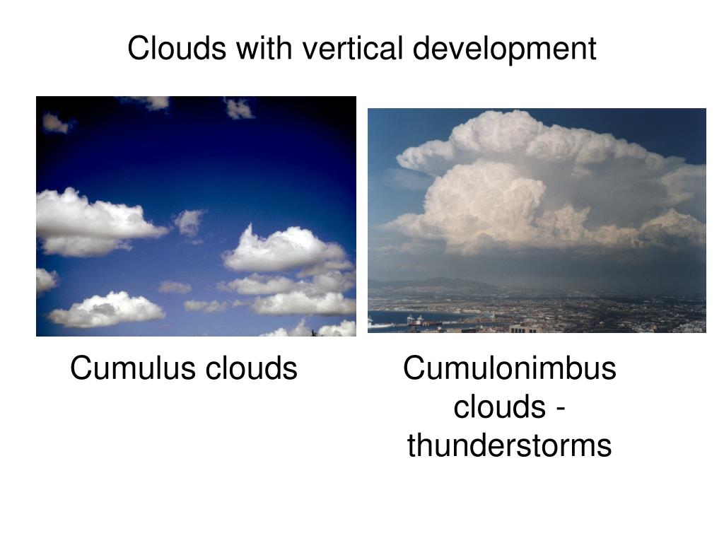 Clouds with vertical development