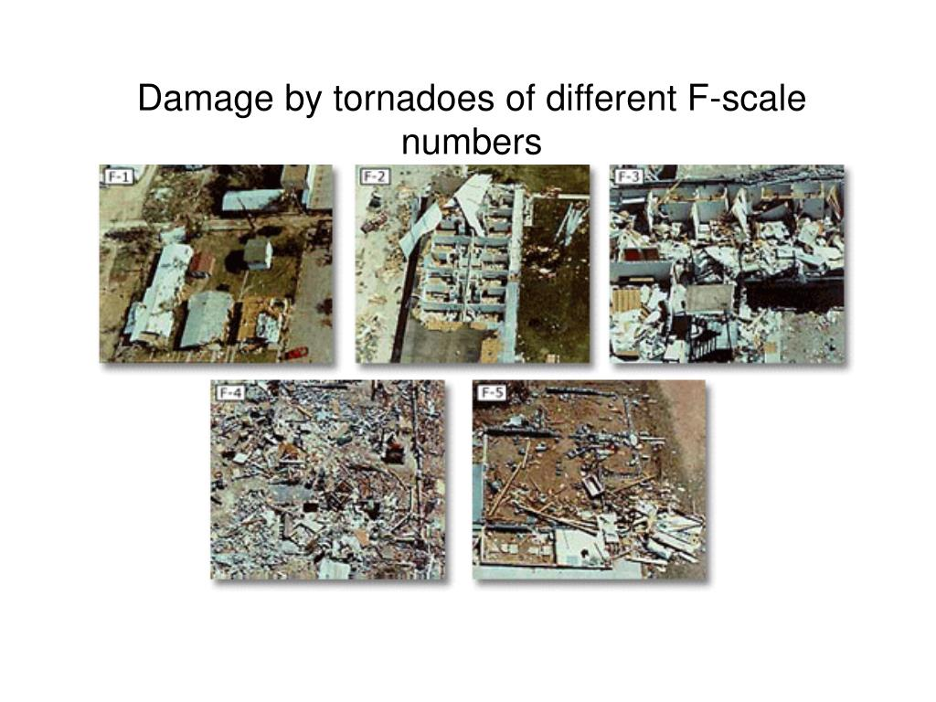 Damage by tornadoes of different F-scale numbers