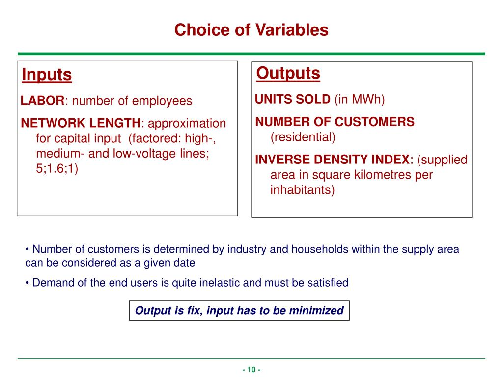 Choice of Variables