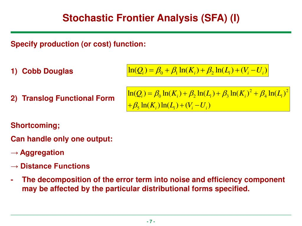 Stochastic Frontier Analysis (SFA) (I)