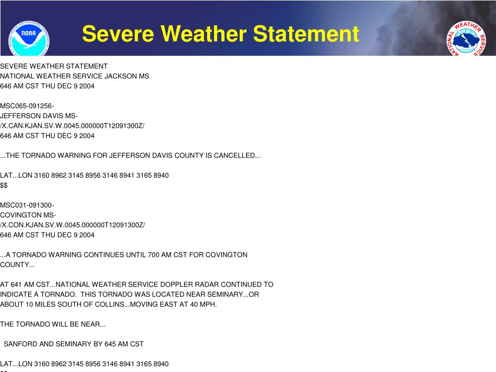 Severe Weather Statement