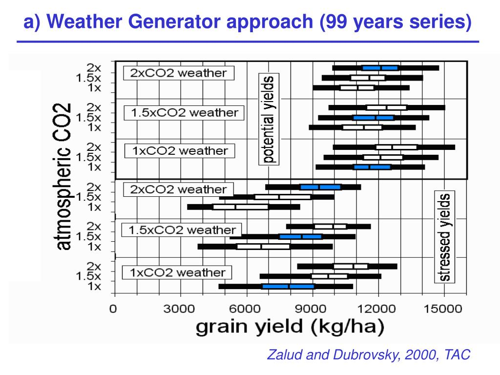 a) Weather Generator approach (99 years series)