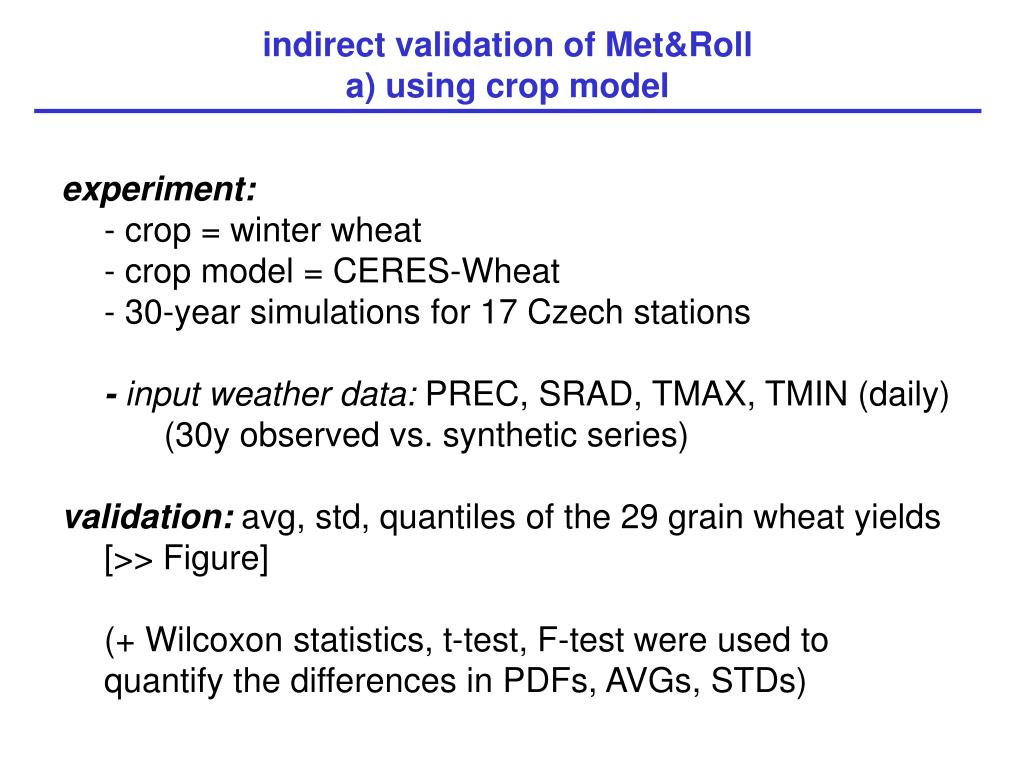indirect validation of Met&Roll