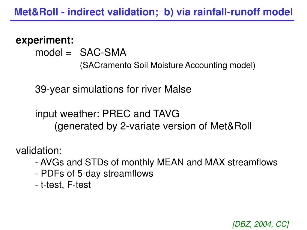 Met&Roll - indirect validation;  b) via rainfall-runoff model