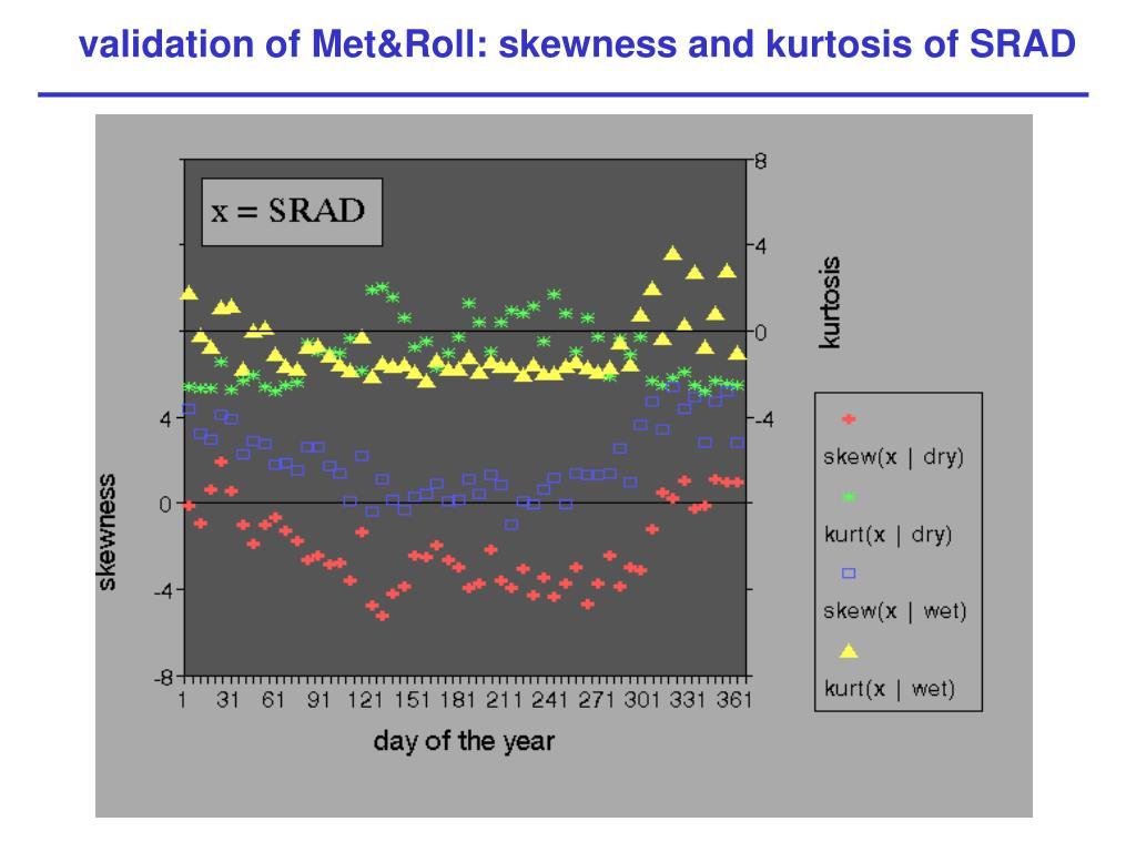 validation of Met&Roll: skewness and kurtosis of SRAD