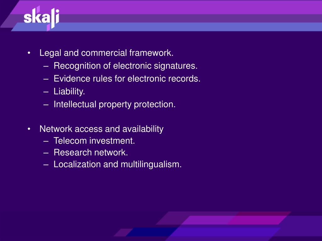 Legal and commercial framework.
