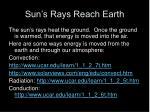 sun s rays reach earth