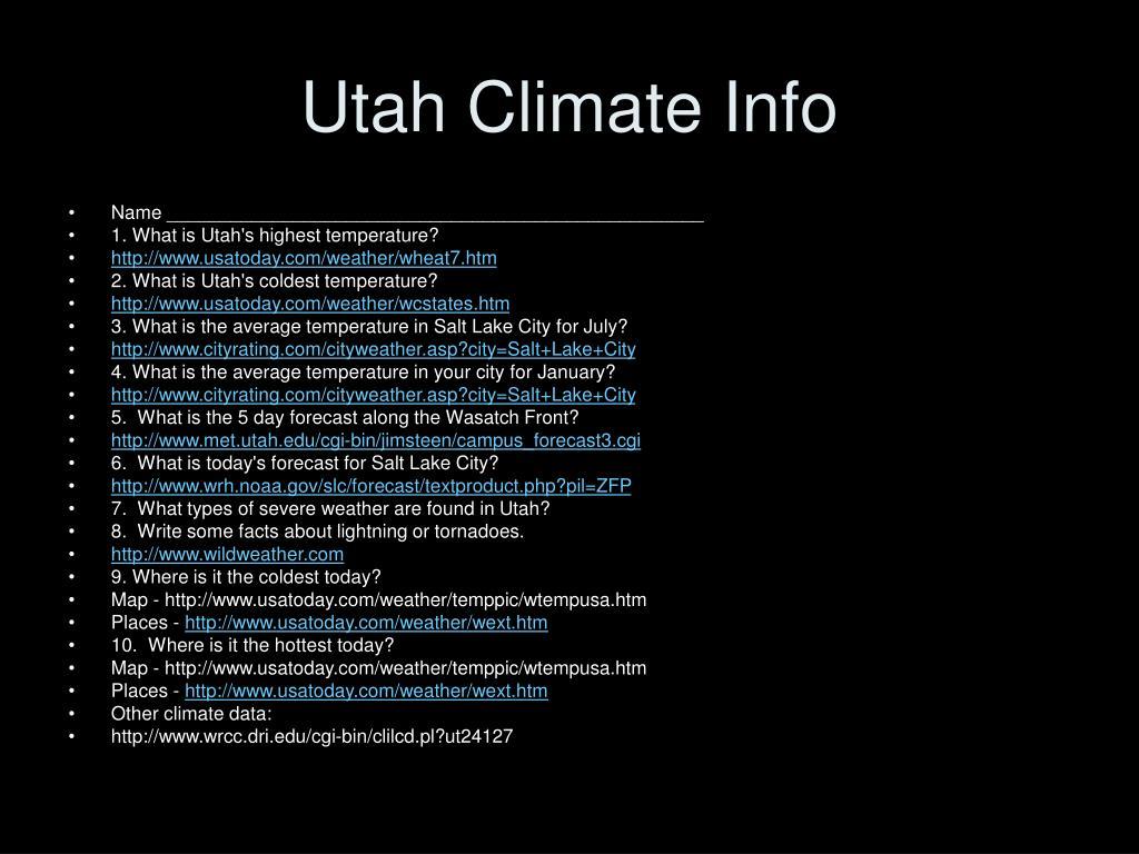 Utah Climate Info