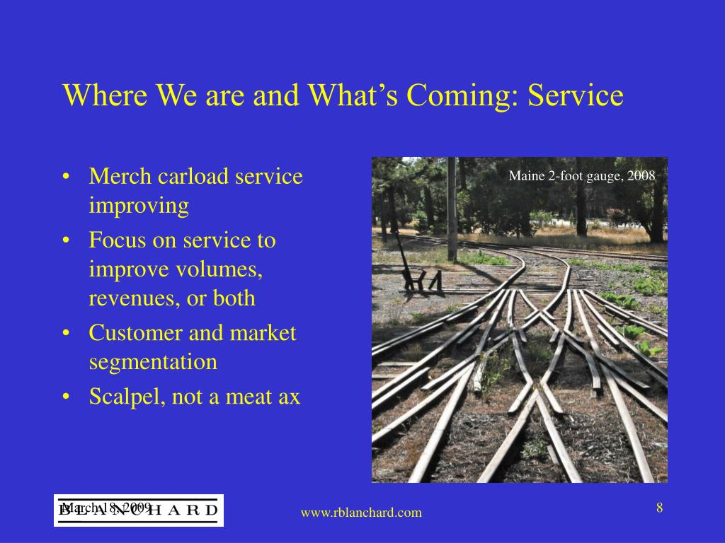 Where We are and What's Coming: Service