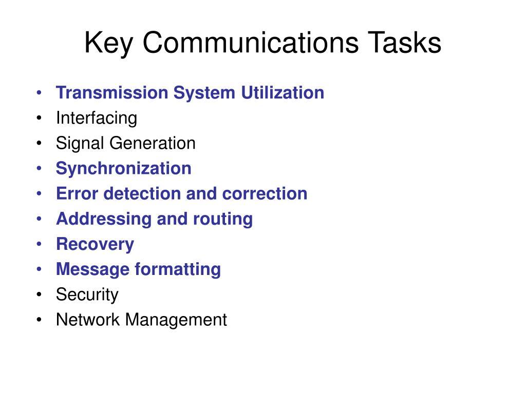 Key Communications Tasks