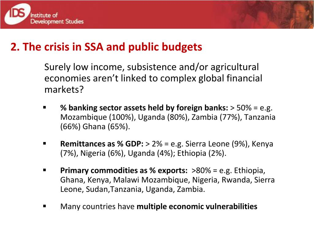 2. The crisis in SSA and public budgets