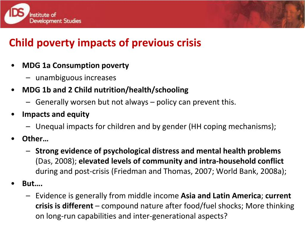 Child poverty impacts of previous crisis