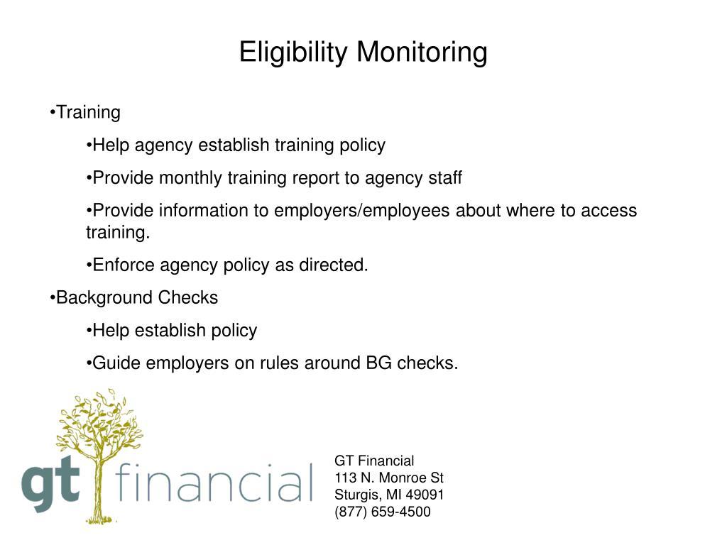 Eligibility Monitoring