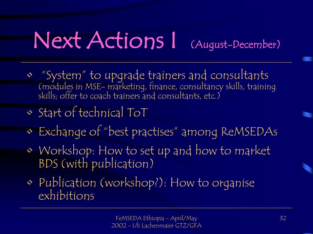 Next Actions I