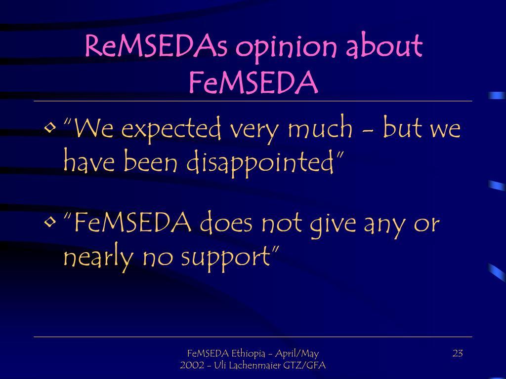 ReMSEDAs opinion about FeMSEDA