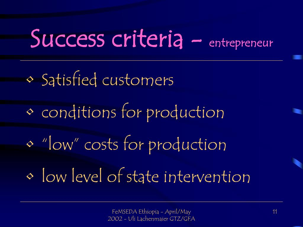 Success criteria -