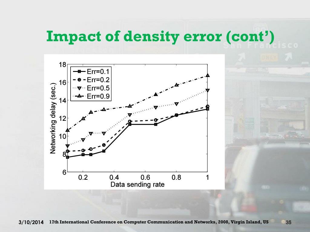 Impact of density error (cont')