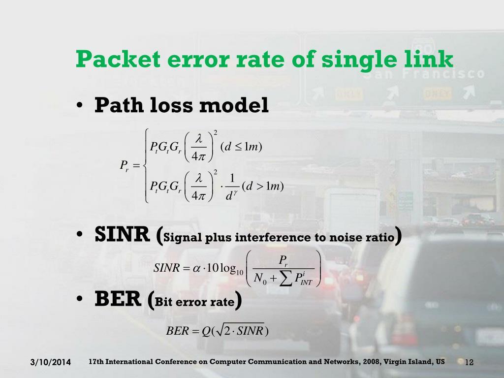 Packet error rate of single link