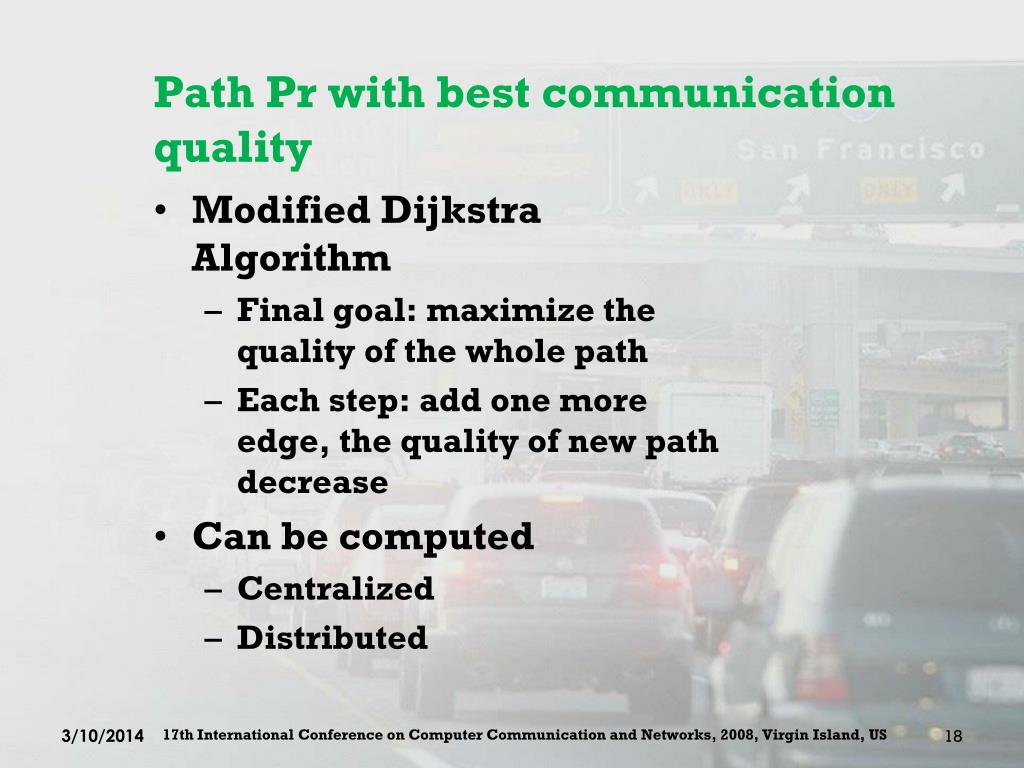 Path Pr with best communication quality