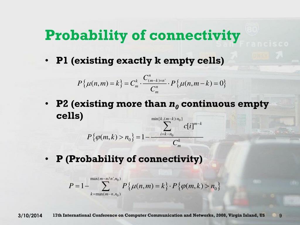 Probability of connectivity