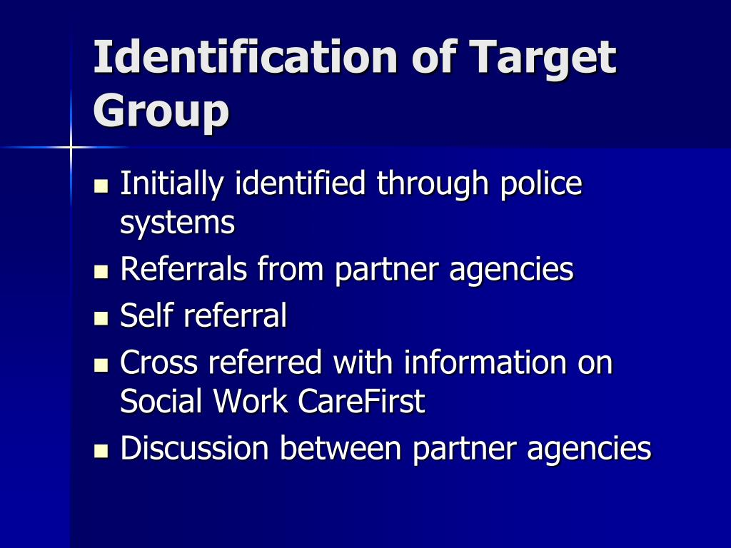 Identification of Target Group