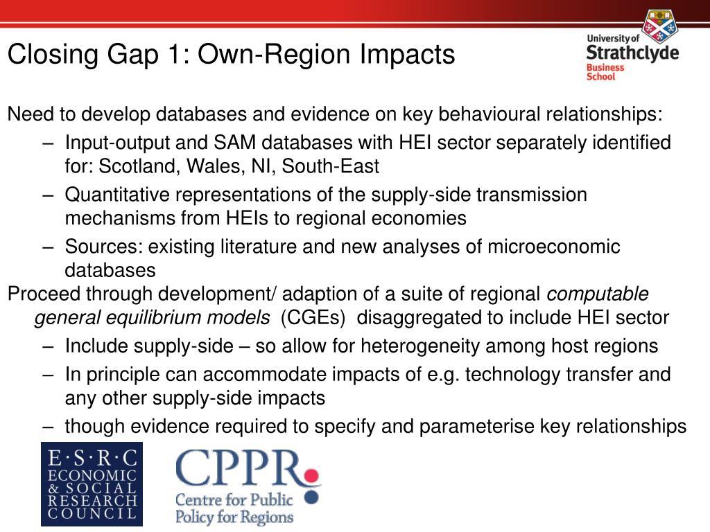 Closing Gap 1: Own-Region Impacts