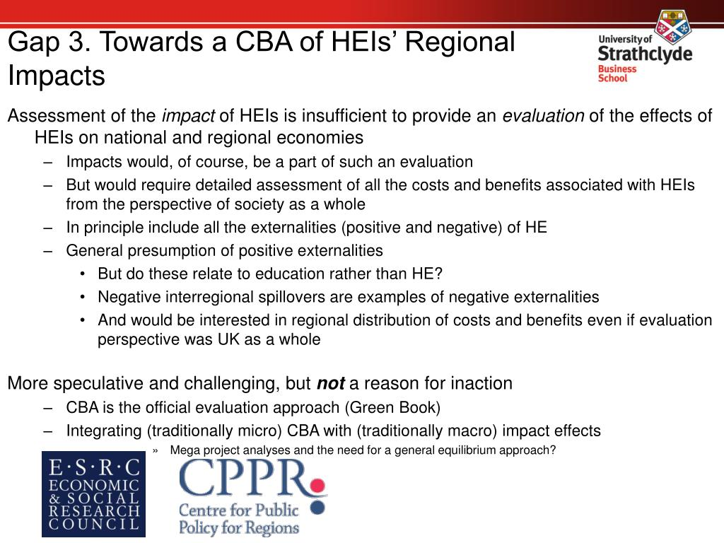 Gap 3. Towards a CBA of HEIs' Regional