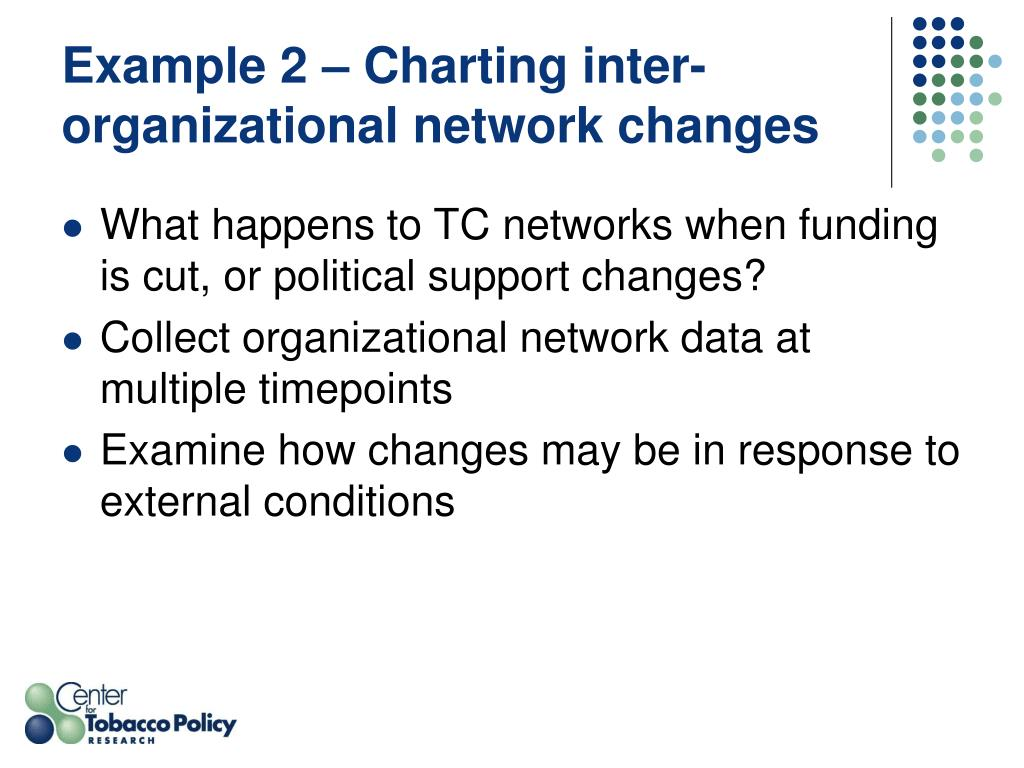 Example 2 – Charting inter-organizational network changes