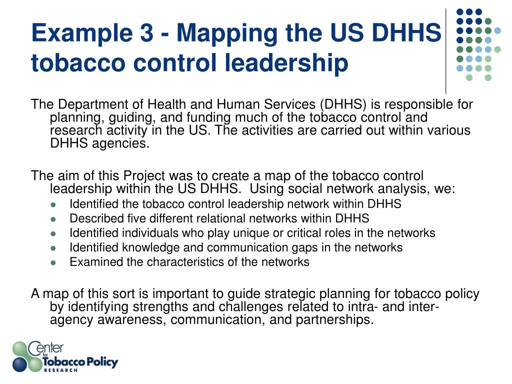 Example 3 - Mapping the US DHHS tobacco control leadership