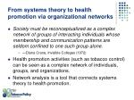 from systems theory to health promotion via organizational networks