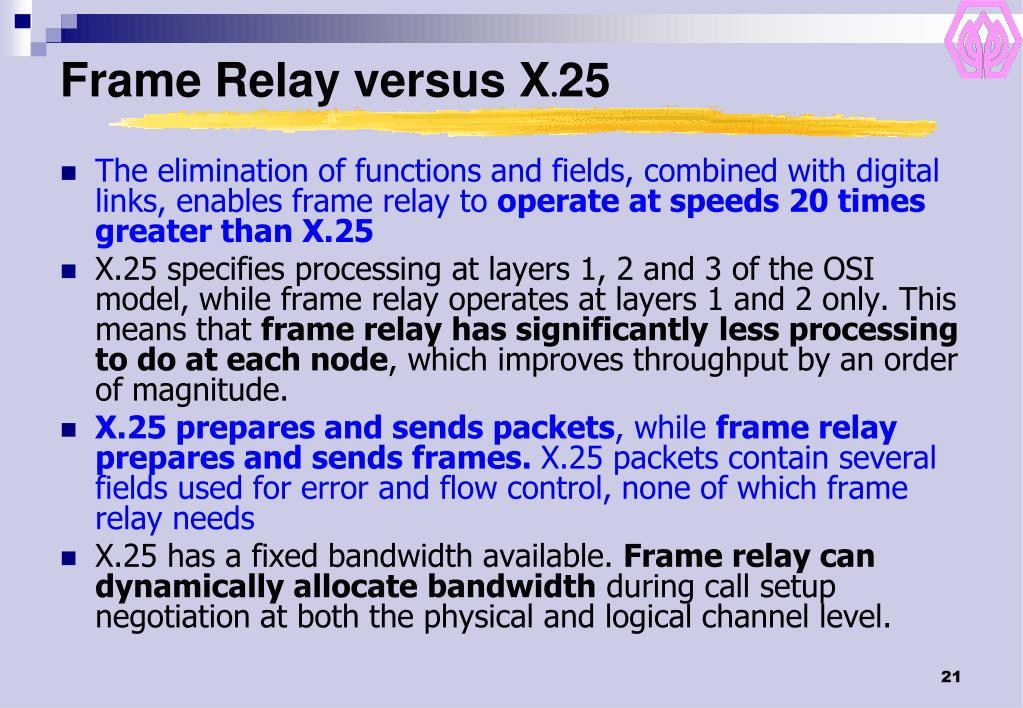 Frame Relay versus X