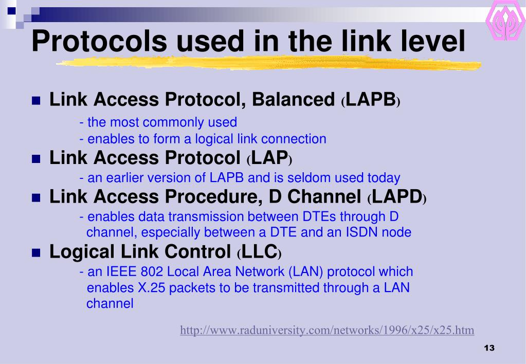 Protocols used in the link level
