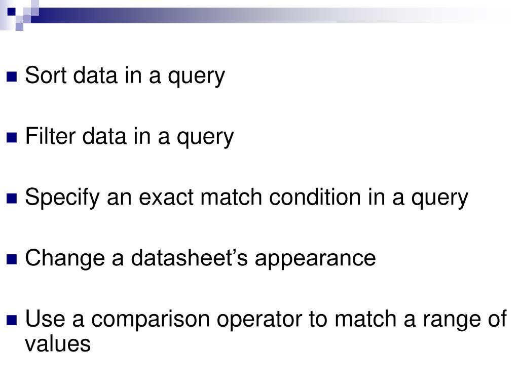 Sort data in a query