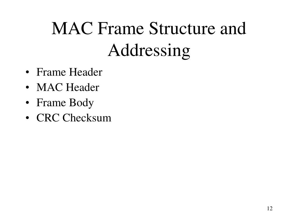 MAC Frame Structure and Addressing