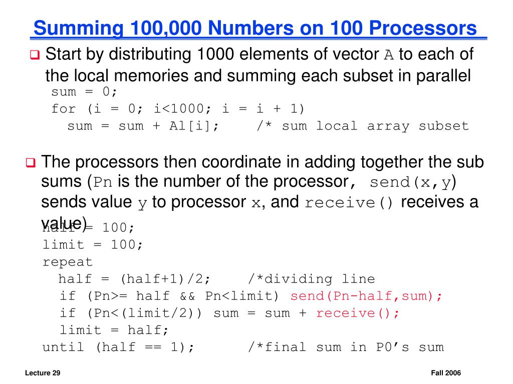 Summing 100,000 Numbers on 100 Processors