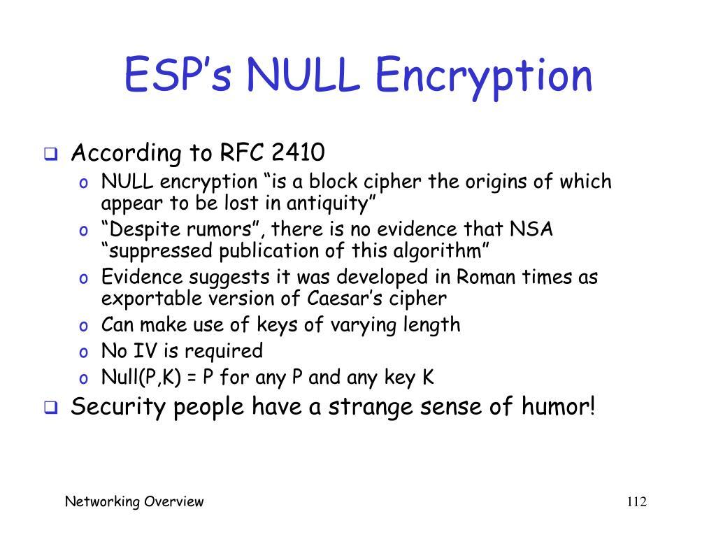 ESP's NULL Encryption