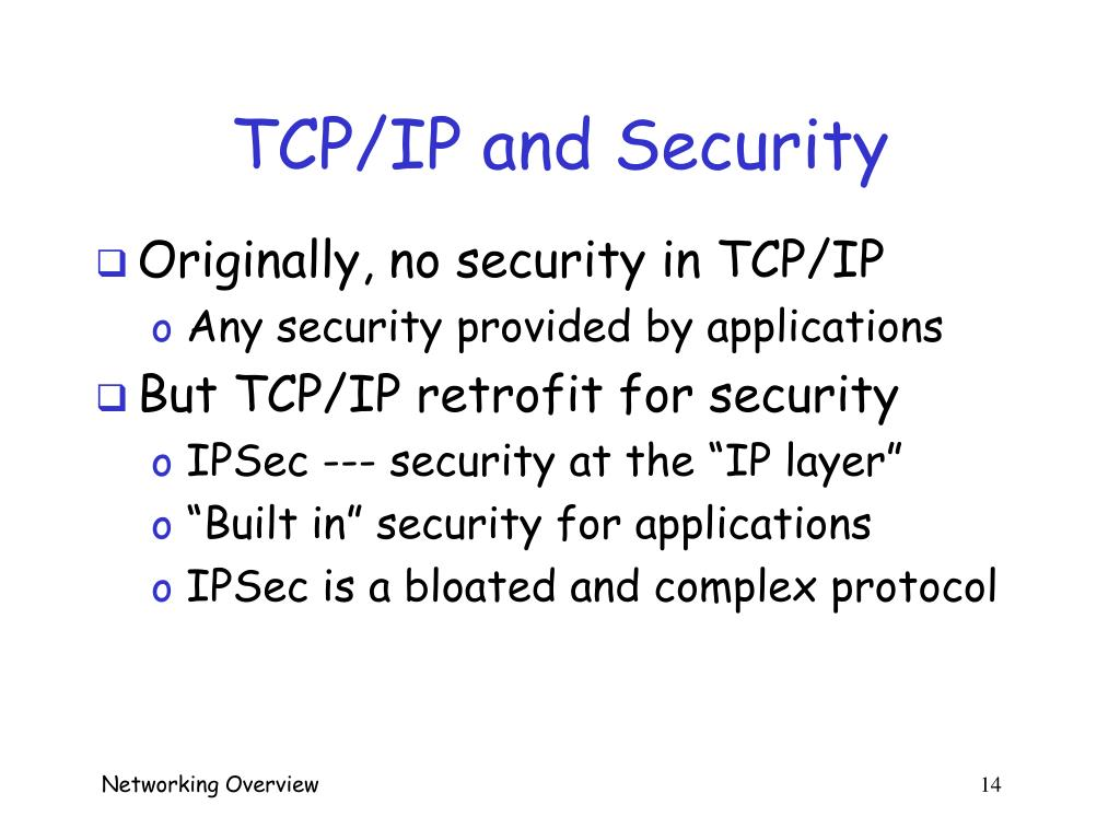 TCP/IP and Security