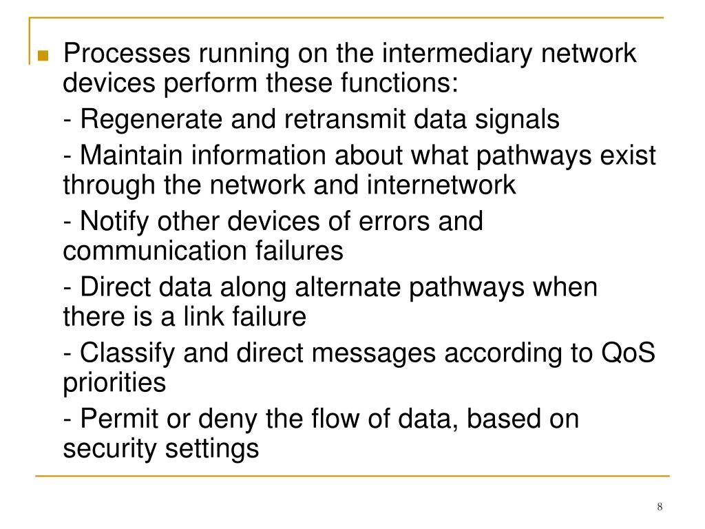 Processes running on the intermediary network devices perform these functions: