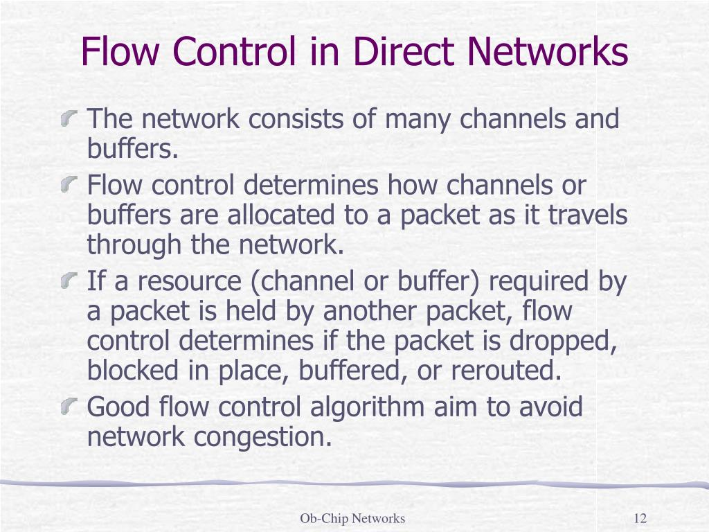 The network consists of many channels and buffers.