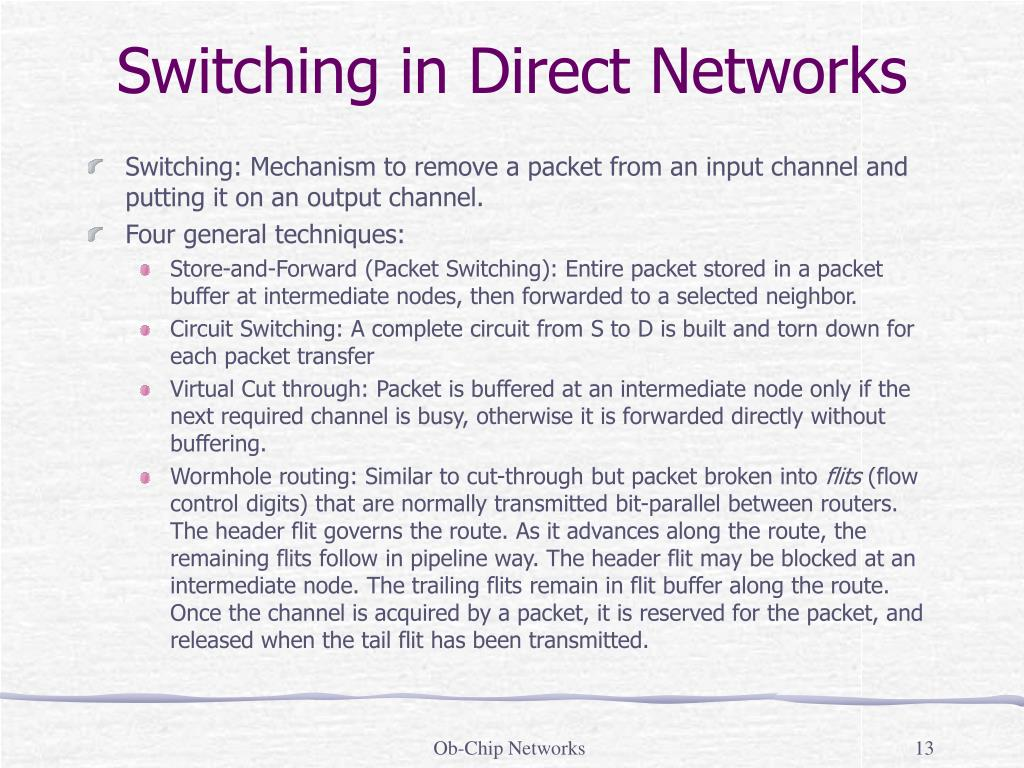 Switching in Direct Networks